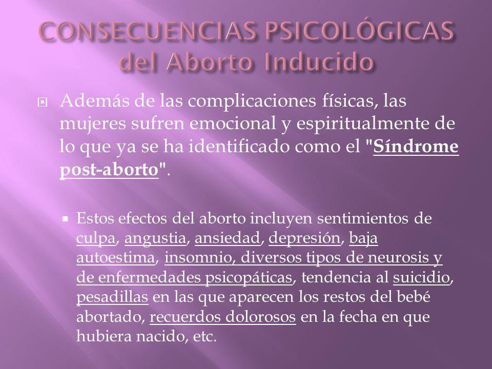 CONSECUENCIAS PSICOLÓGICAS del Aborto Inducido