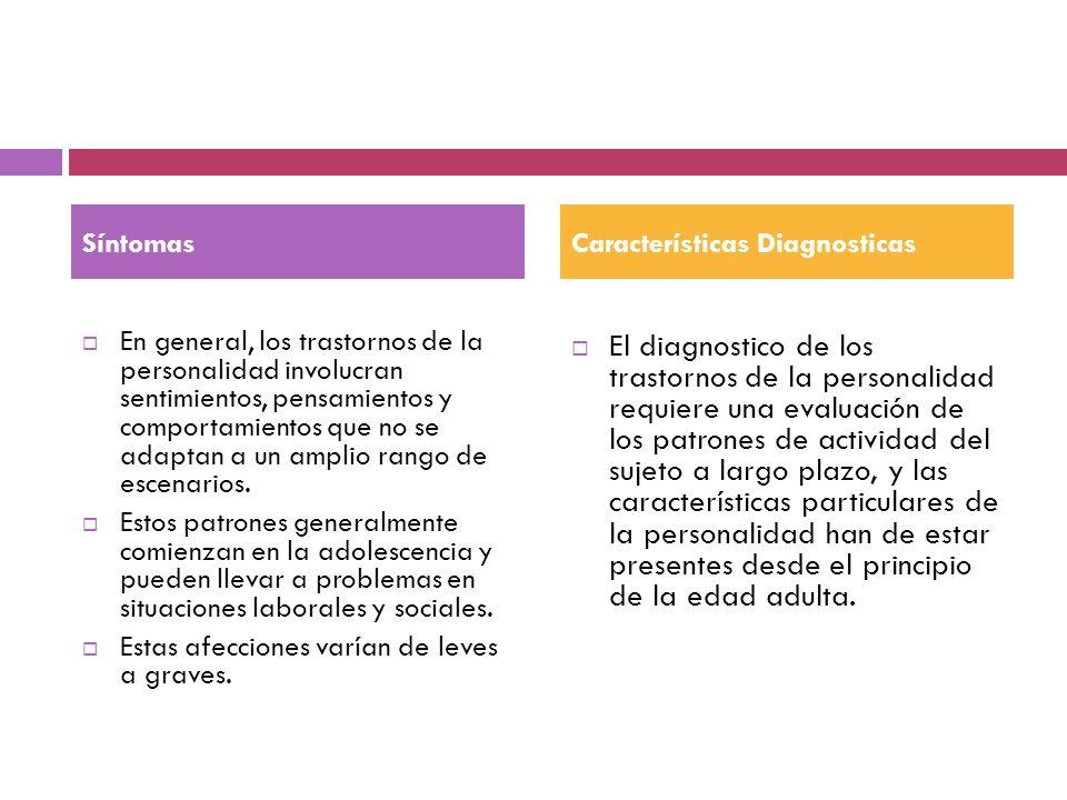 Síntomas Características Diagnosticas.