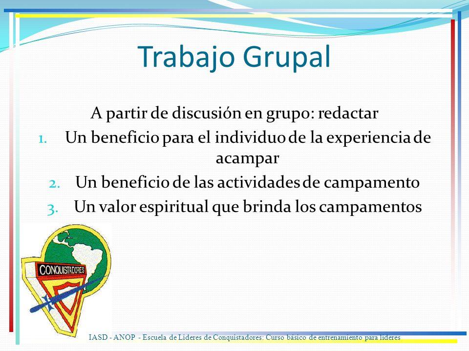 Trabajo Grupal A partir de discusión en grupo: redactar