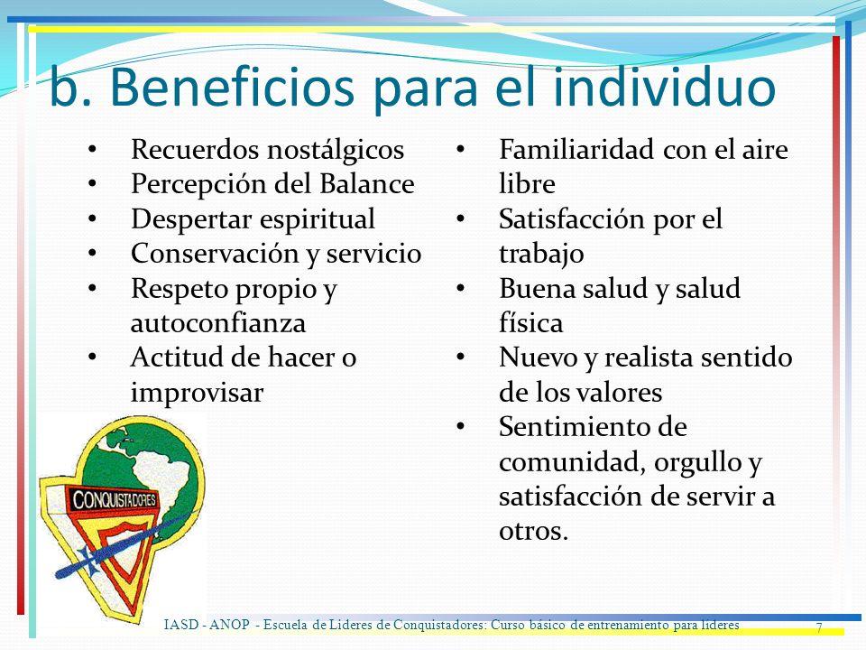 b. Beneficios para el individuo