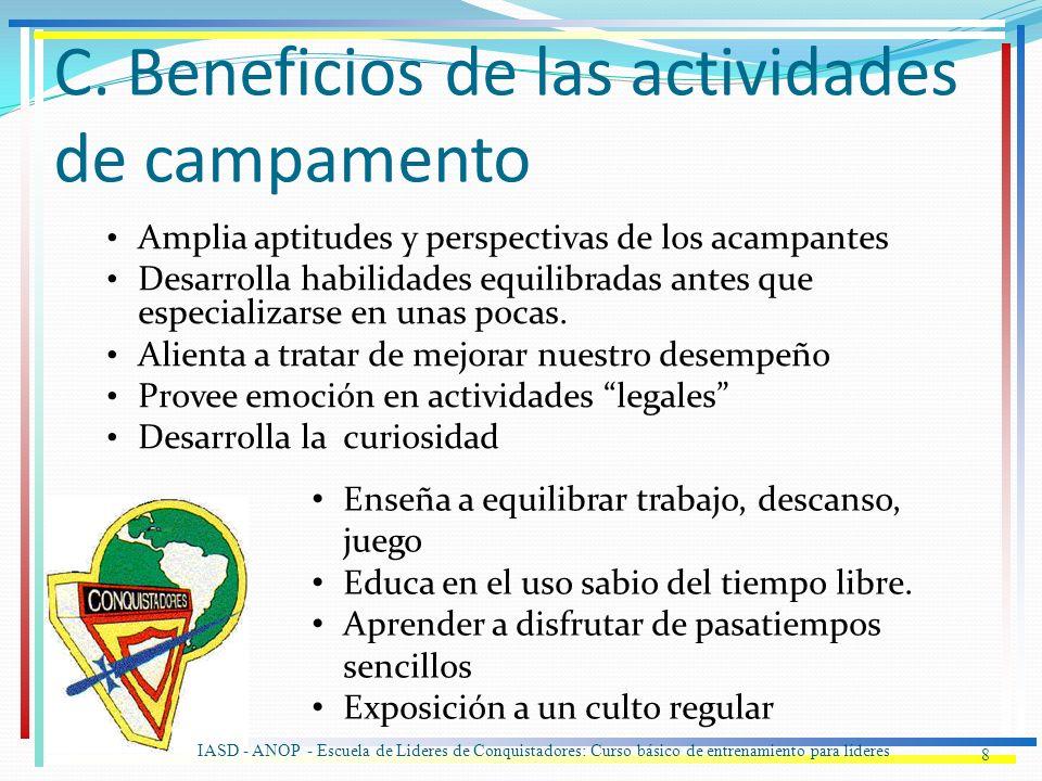 C. Beneficios de las actividades de campamento