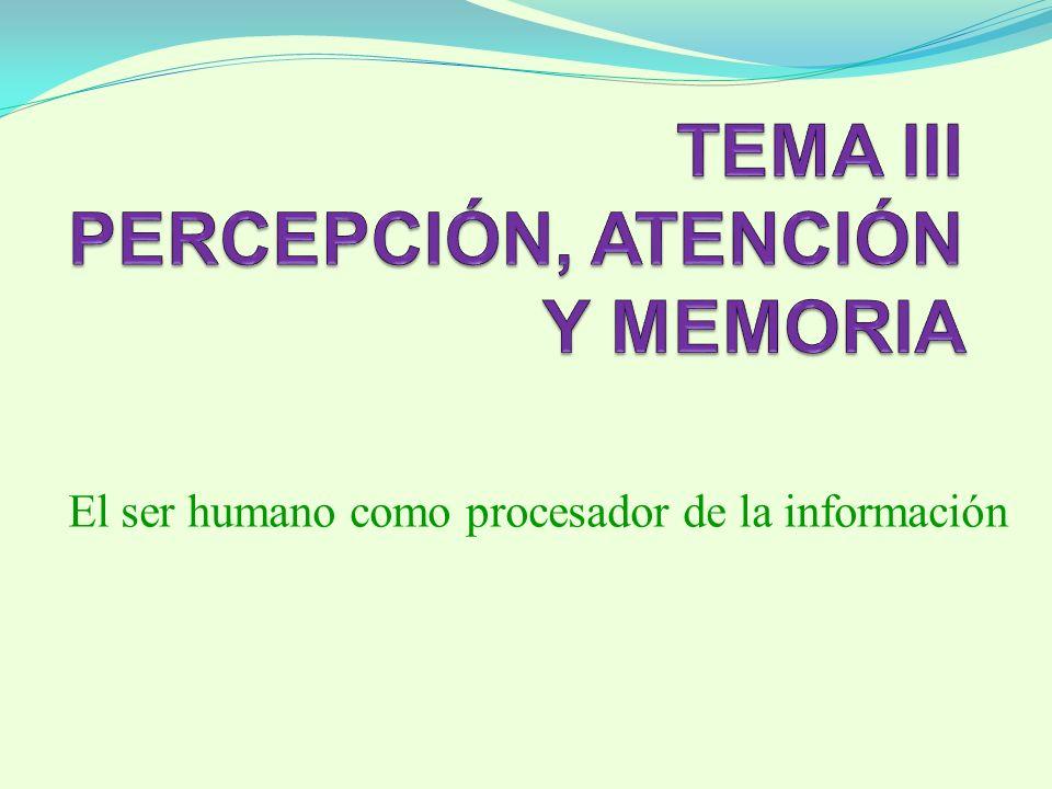 TEMA III PERCEPCIÓN, ATENCIÓN Y MEMORIA