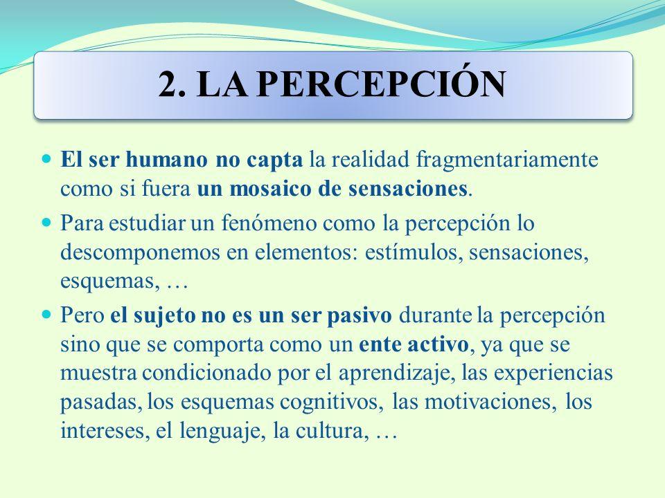2. LA PERCEPCIÓN El ser humano no capta la realidad fragmentariamente como si fuera un mosaico de sensaciones.