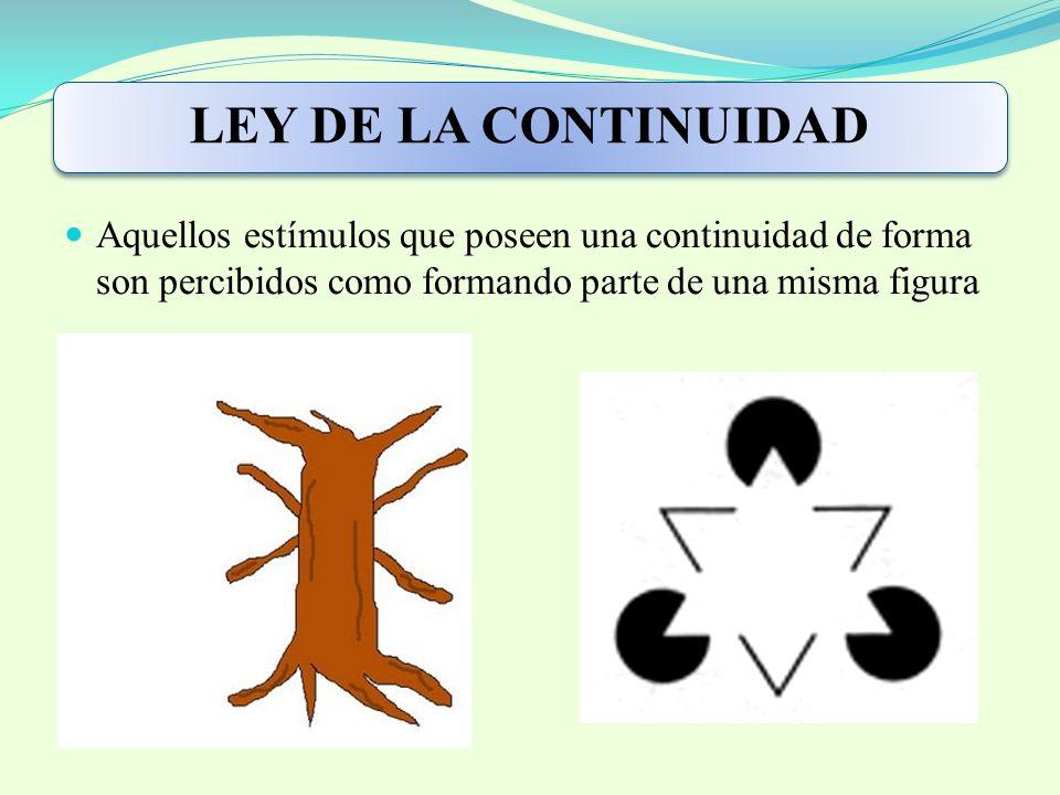 LEY DE LA CONTINUIDAD Aquellos estímulos que poseen una continuidad de forma son percibidos como formando parte de una misma figura.