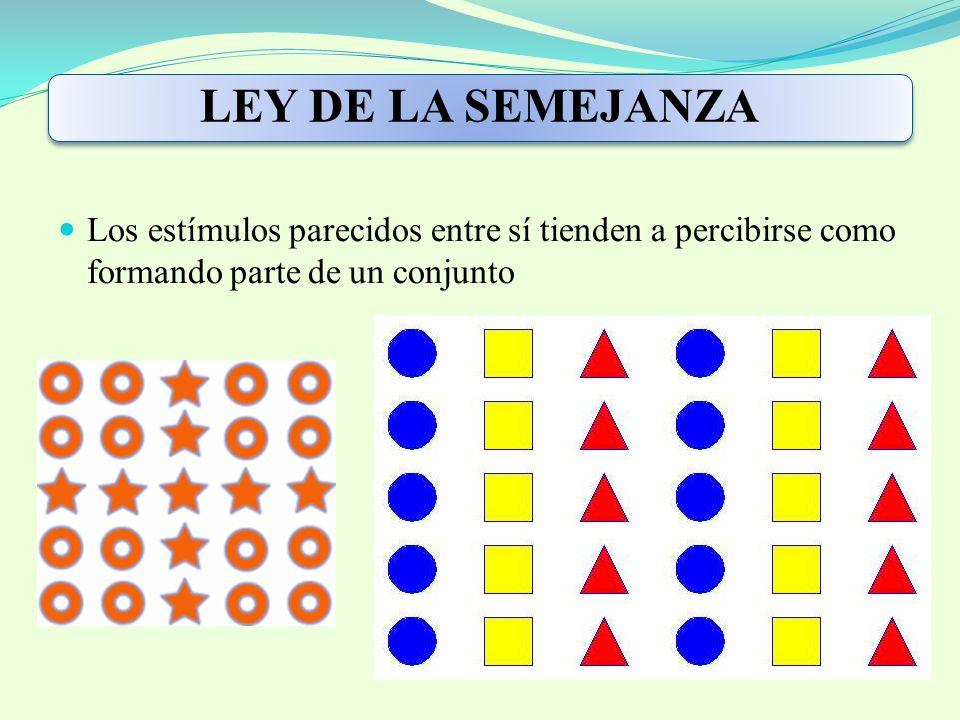 LEY DE LA SEMEJANZA Los estímulos parecidos entre sí tienden a percibirse como formando parte de un conjunto.