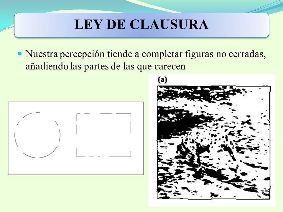 LEY DE CLAUSURA Nuestra percepción tiende a completar figuras no cerradas, añadiendo las partes de las que carecen.