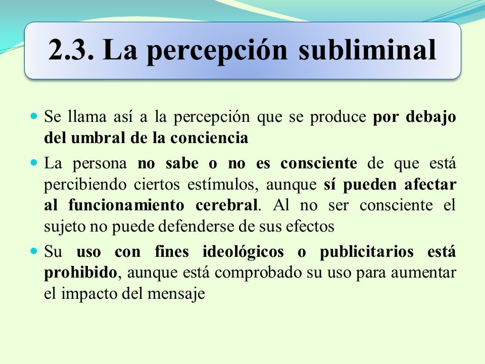 2.3. La percepción subliminal