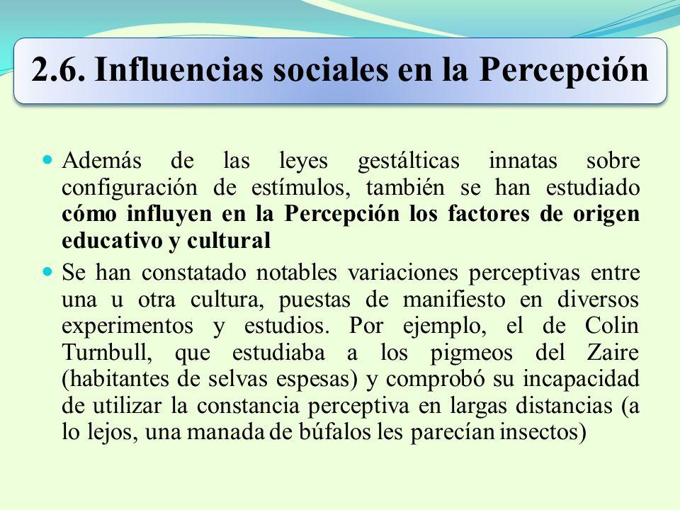 2.6. Influencias sociales en la Percepción