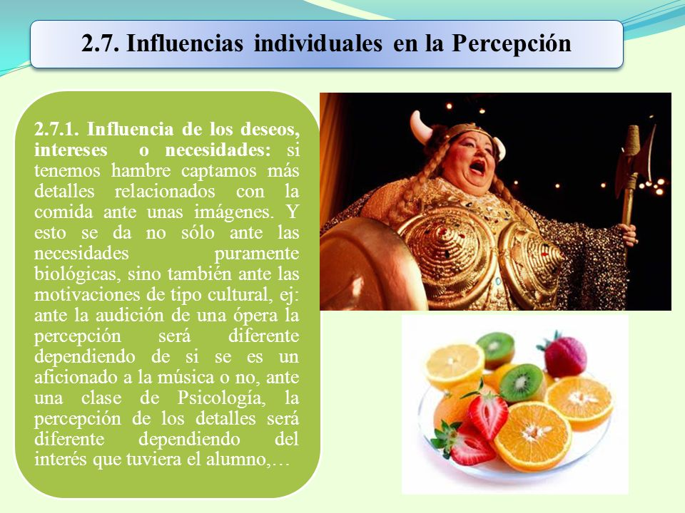 2.7. Influencias individuales en la Percepción