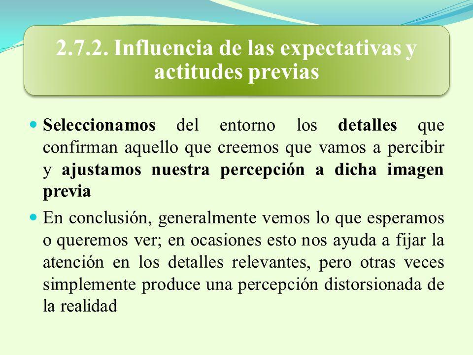2.7.2. Influencia de las expectativas y actitudes previas