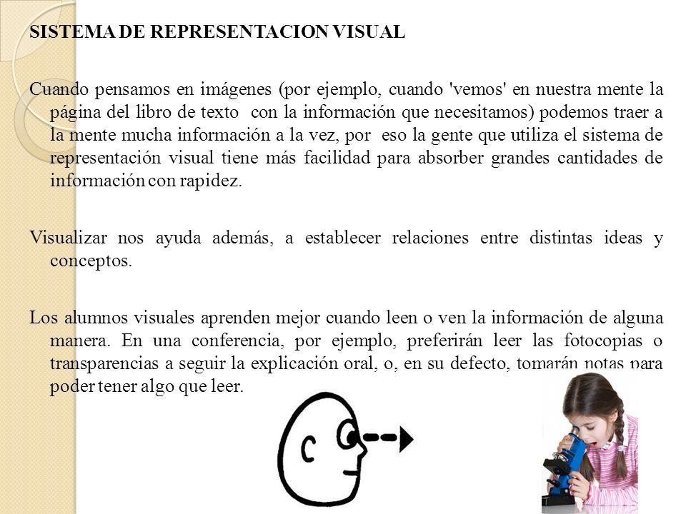 SISTEMA DE REPRESENTACION VISUAL Cuando pensamos en imágenes (por ejemplo, cuando vemos en nuestra mente la página del libro de texto con la información que necesitamos) podemos traer a la mente mucha información a la vez, por eso la gente que utiliza el sistema de representación visual tiene más facilidad para absorber grandes cantidades de información con rapidez.