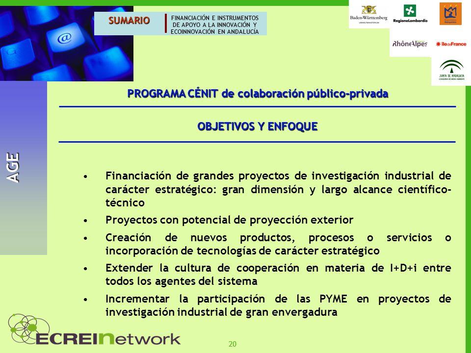 PROGRAMA CÉNIT de colaboración público-privada