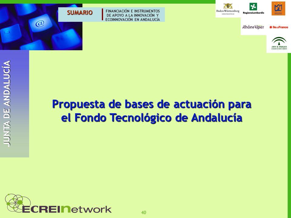 Propuesta de bases de actuación para el Fondo Tecnológico de Andalucía