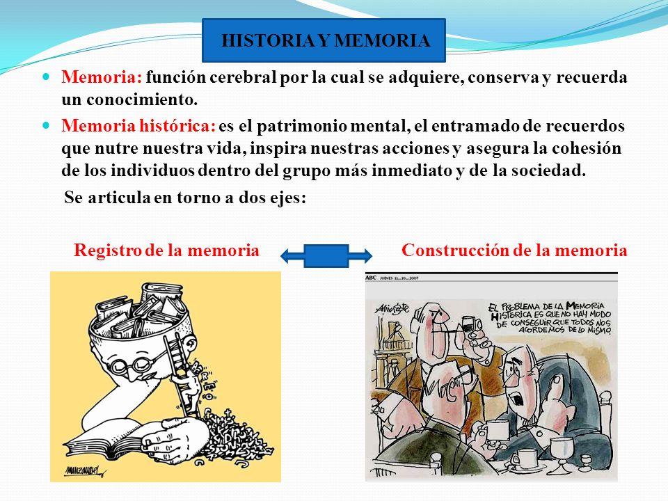 HISTORIA Y MEMORIA Memoria: función cerebral por la cual se adquiere, conserva y recuerda un conocimiento.