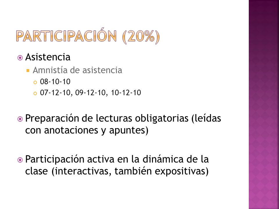 Participación (20%) Asistencia
