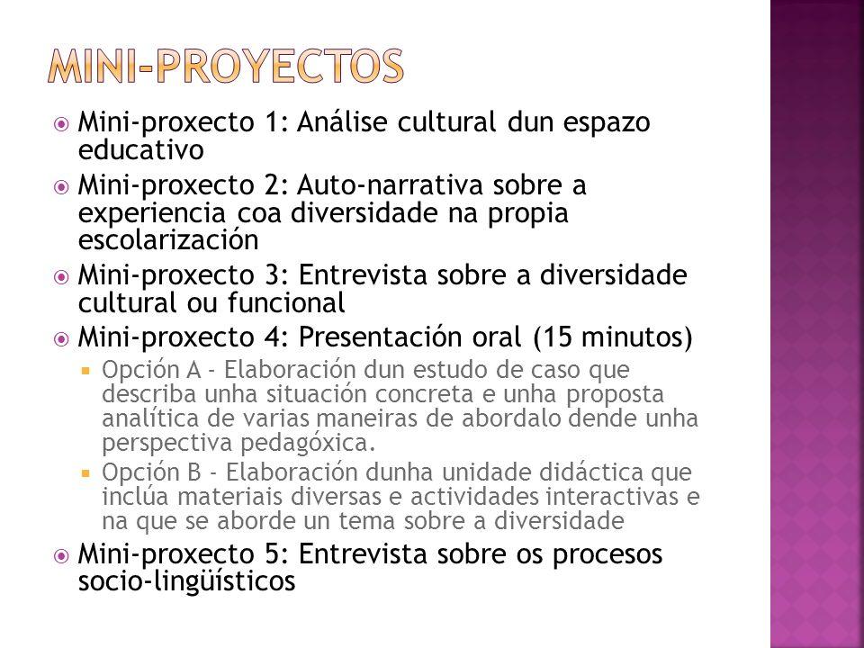 Mini-proyectos Mini-proxecto 1: Análise cultural dun espazo educativo