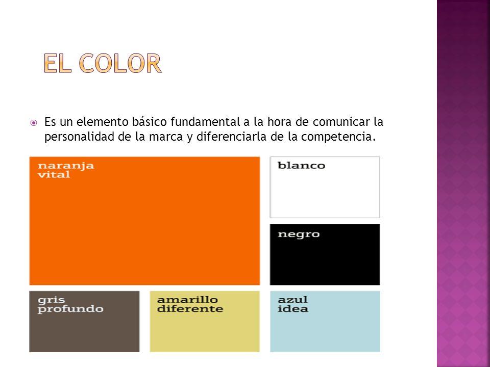 el color Es un elemento básico fundamental a la hora de comunicar la personalidad de la marca y diferenciarla de la competencia.