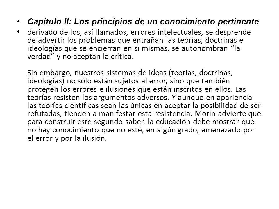 Capítulo II: Los principios de un conocimiento pertinente
