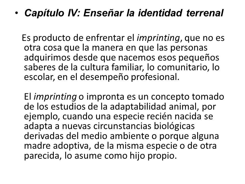 Capítulo IV: Enseñar la identidad terrenal