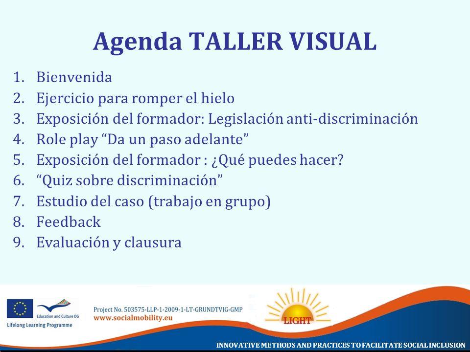 Agenda TALLER VISUAL Bienvenida Ejercicio para romper el hielo
