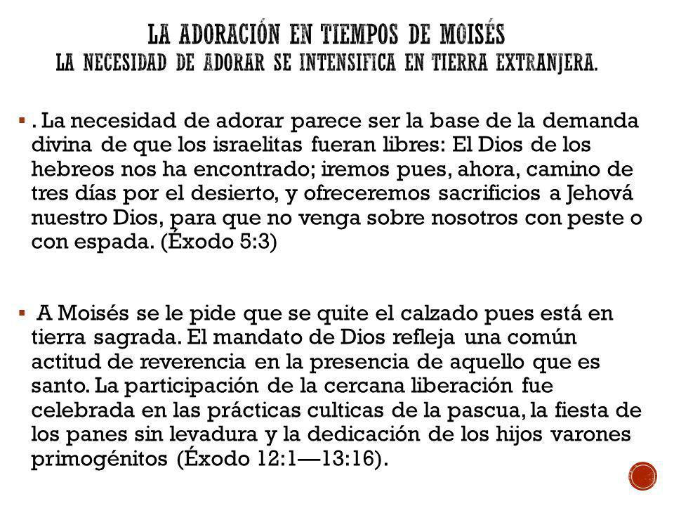 La adoración en tiempos de Moisés La Necesidad de Adorar Se Intensifica en Tierra Extranjera.