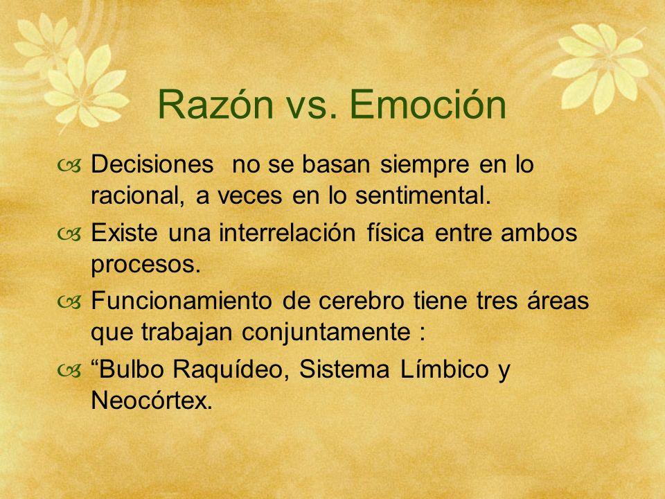 Razón vs. Emoción Decisiones no se basan siempre en lo racional, a veces en lo sentimental. Existe una interrelación física entre ambos procesos.