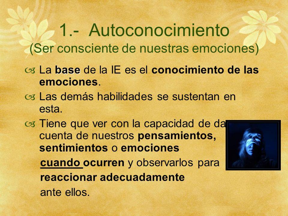 1.- Autoconocimiento (Ser consciente de nuestras emociones)