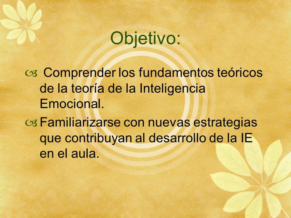 Objetivo: Comprender los fundamentos teóricos de la teoría de la Inteligencia Emocional.