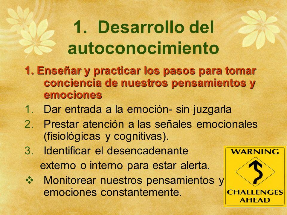 1. Desarrollo del autoconocimiento