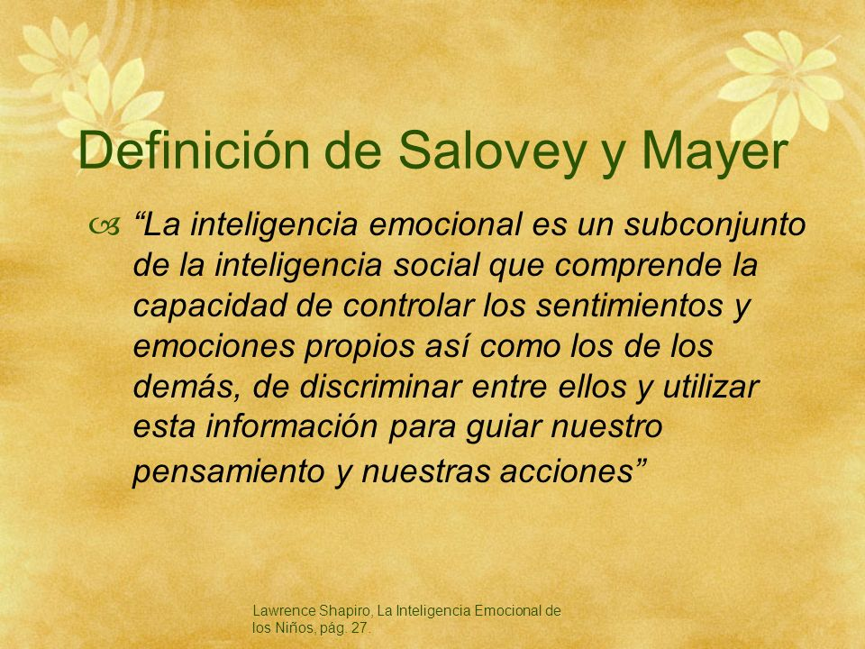 Definición de Salovey y Mayer