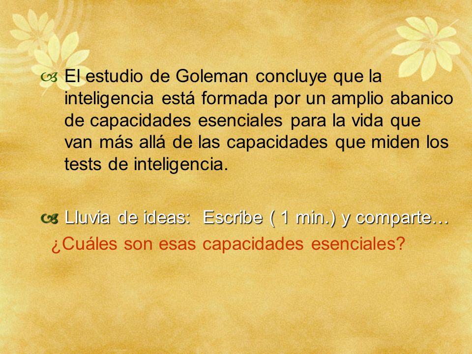 El estudio de Goleman concluye que la inteligencia está formada por un amplio abanico de capacidades esenciales para la vida que van más allá de las capacidades que miden los tests de inteligencia.