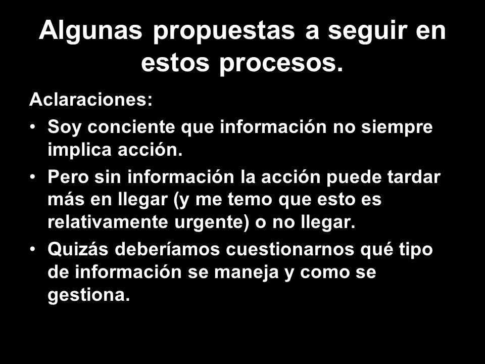 Algunas propuestas a seguir en estos procesos.