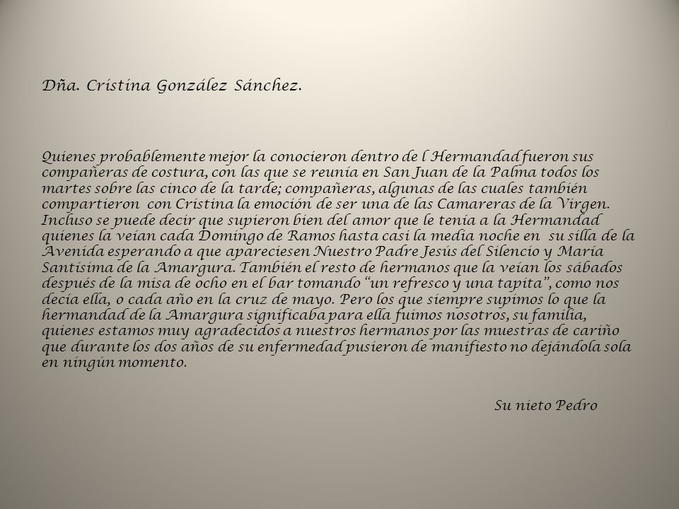 Dña. Cristina González Sánchez