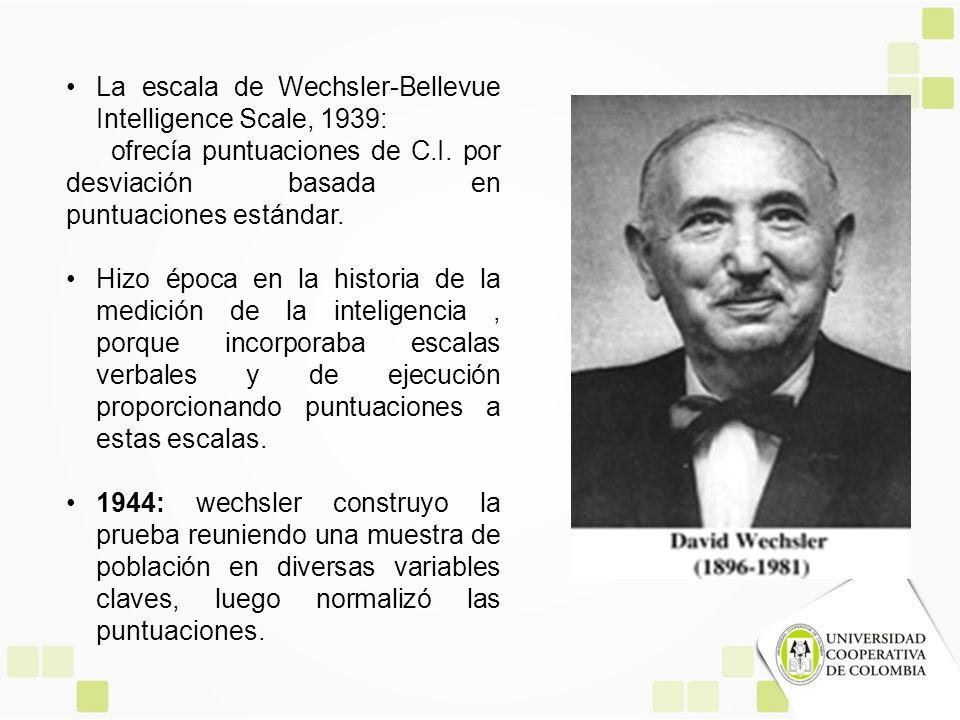 La escala de Wechsler-Bellevue Intelligence Scale, 1939: