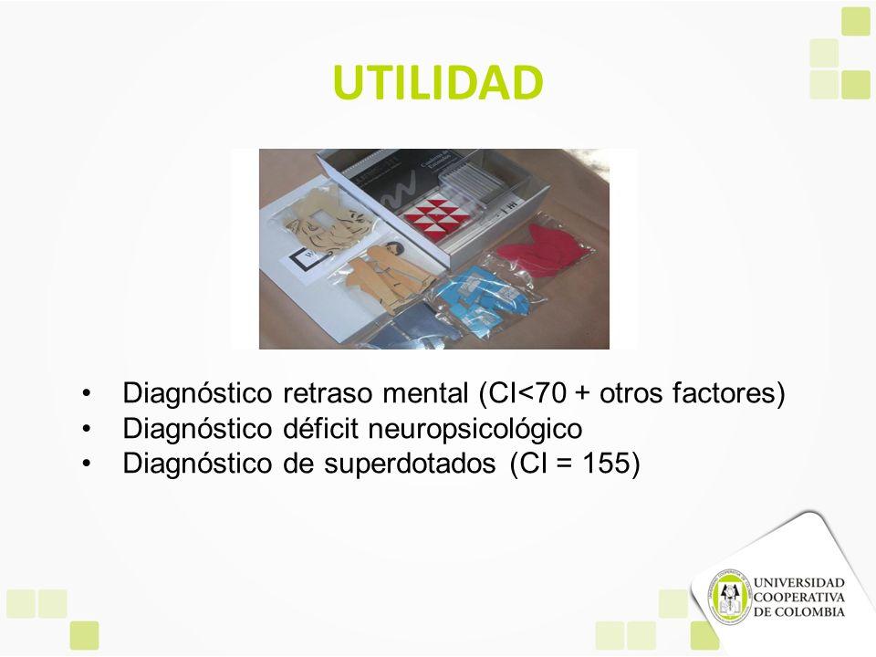 UTILIDAD Diagnóstico retraso mental (CI<70 + otros factores)