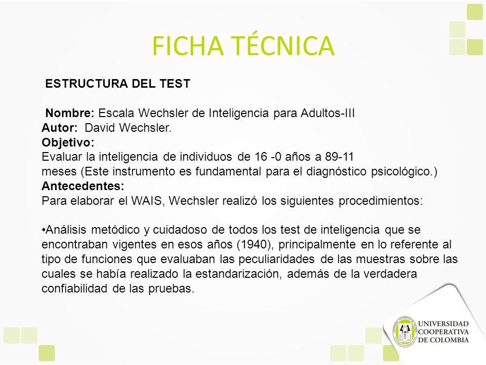 FICHA TÉCNICA ESTRUCTURA DEL TEST