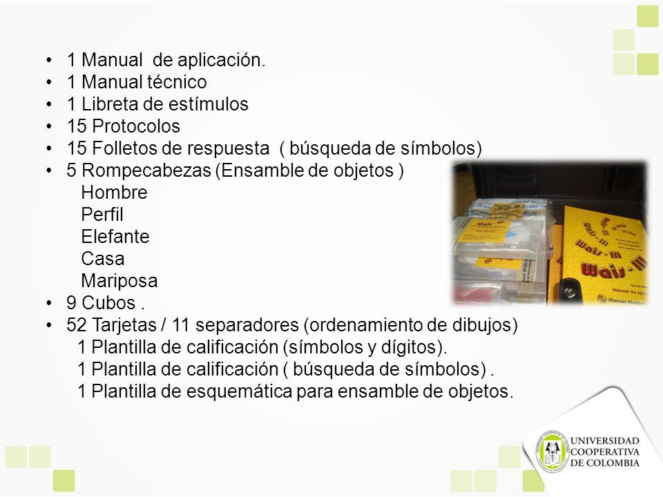 1 Manual de aplicación. 1 Manual técnico. 1 Libreta de estímulos. 15 Protocolos. 15 Folletos de respuesta ( búsqueda de símbolos)