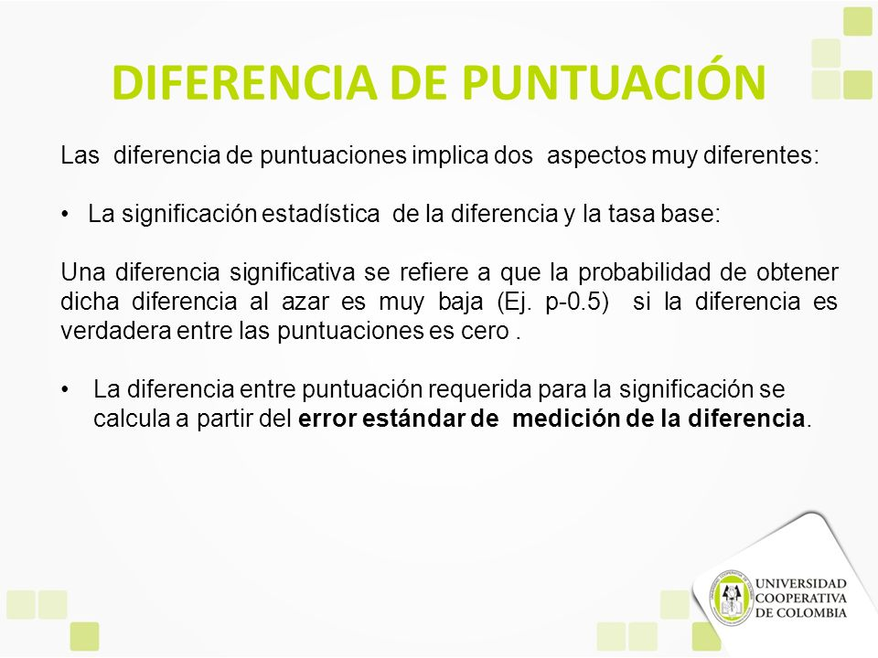 DIFERENCIA DE PUNTUACIÓN