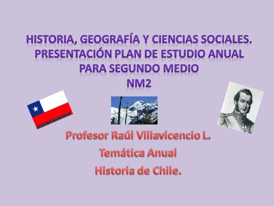 Profesor Raúl Villavicencio L. Temática Anual Historia de Chile.