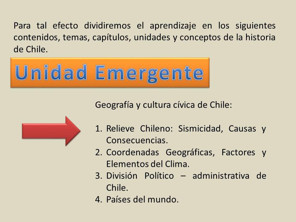 Para tal efecto dividiremos el aprendizaje en los siguientes contenidos, temas, capítulos, unidades y conceptos de la historia de Chile.