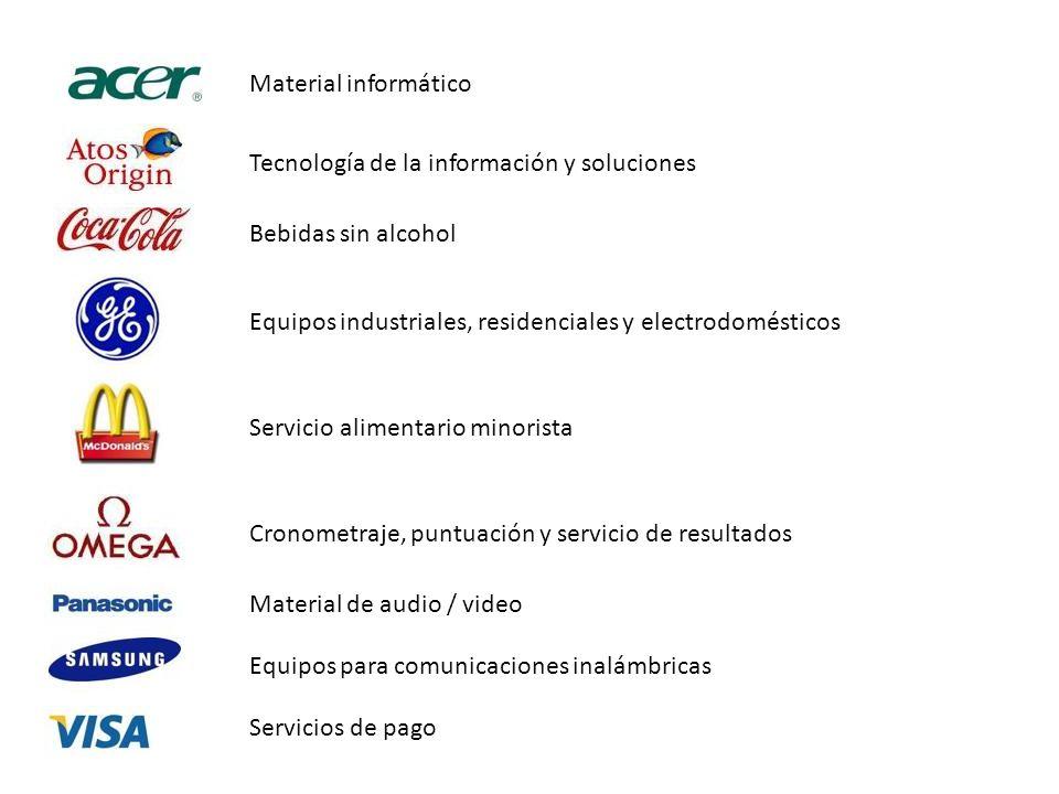 Material informático Tecnología de la información y soluciones. Bebidas sin alcohol. Equipos industriales, residenciales y electrodomésticos.