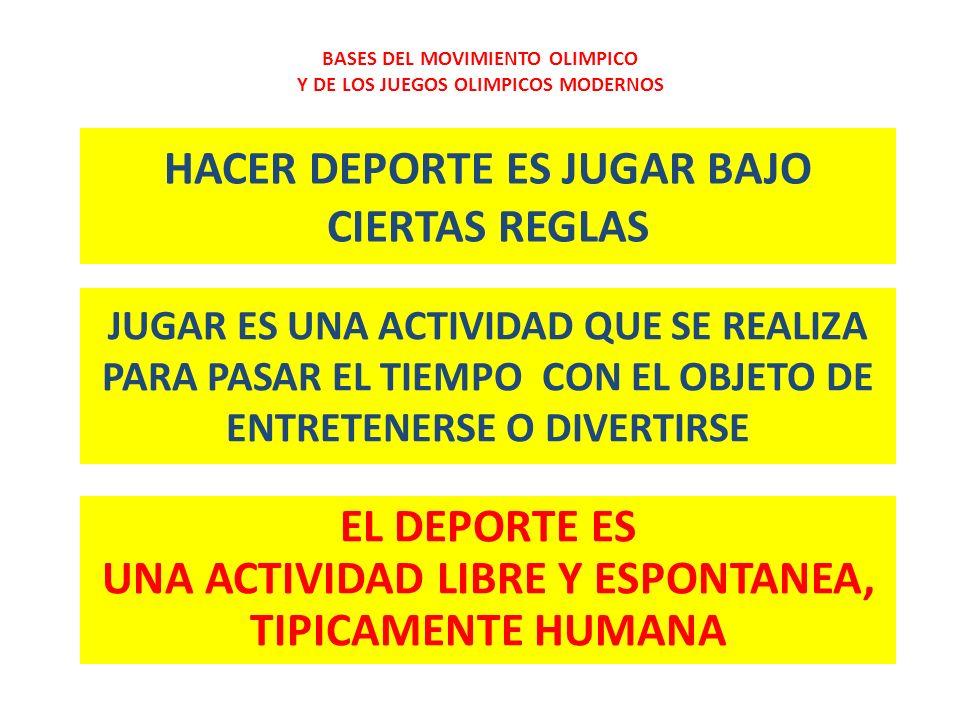 HACER DEPORTE ES JUGAR BAJO CIERTAS REGLAS