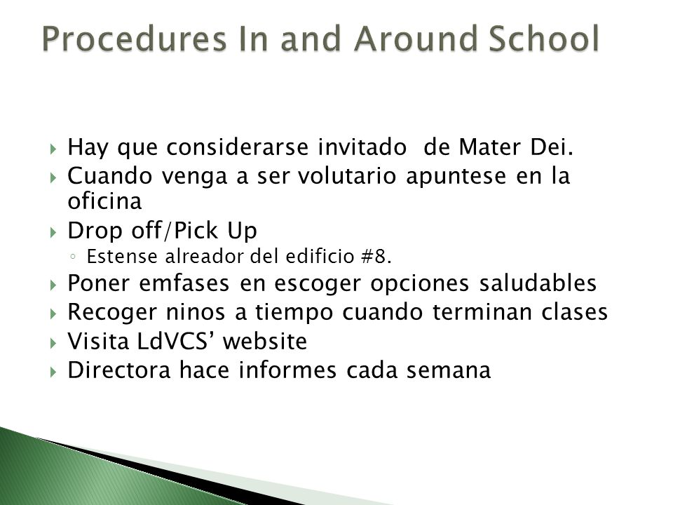 Procedures In and Around School
