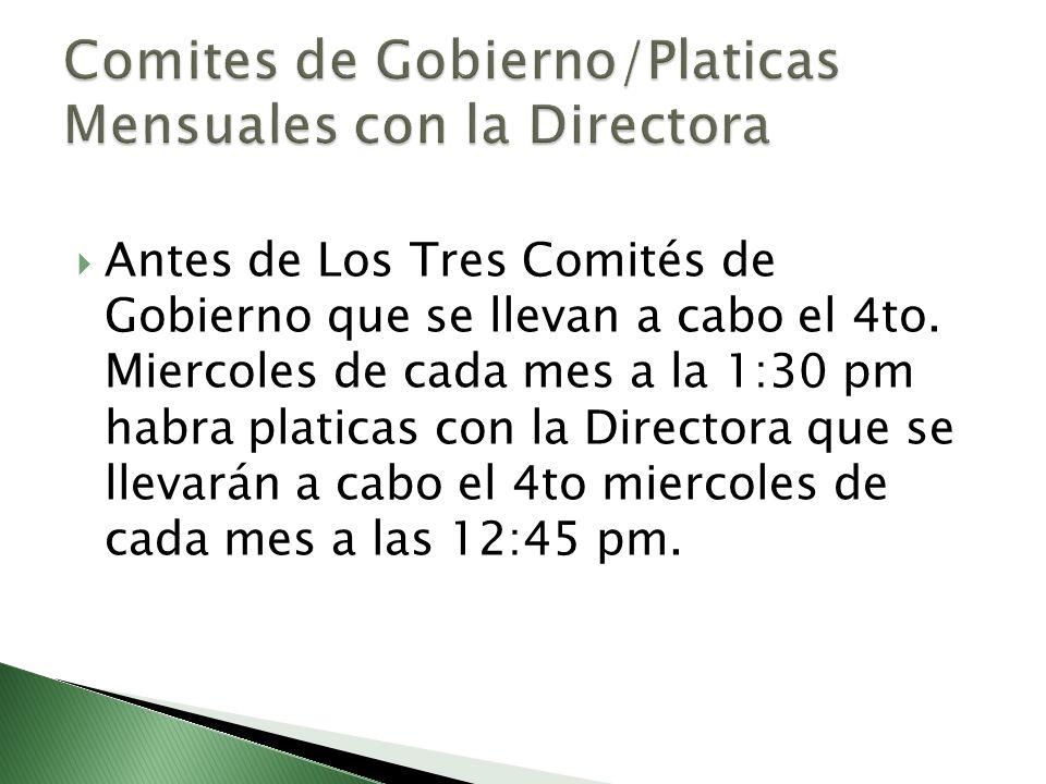 Comites de Gobierno/Platicas Mensuales con la Directora
