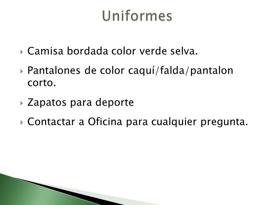 Uniformes Camisa bordada color verde selva.