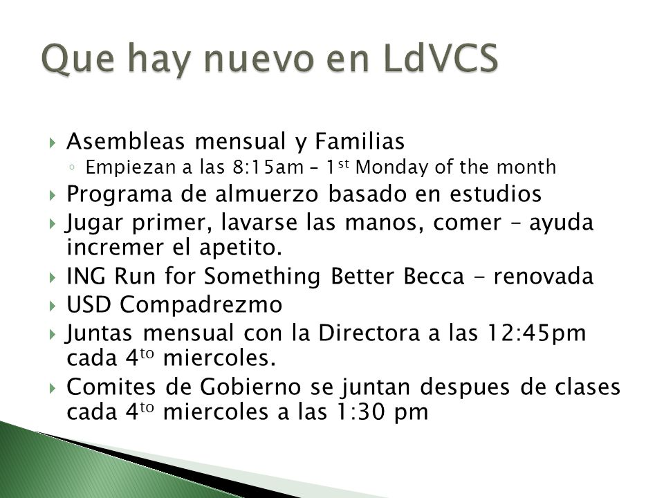 Que hay nuevo en LdVCS Asembleas mensual y Familias