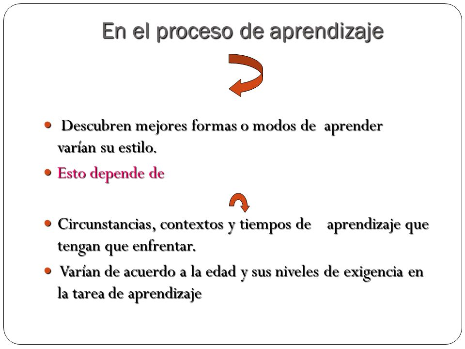En el proceso de aprendizaje