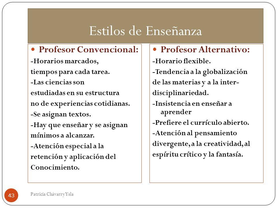 Estilos de Enseñanza Profesor Convencional: Profesor Alternativo: