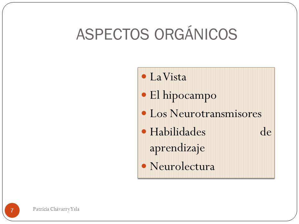 ASPECTOS ORGÁNICOS La Vista El hipocampo Los Neurotransmisores