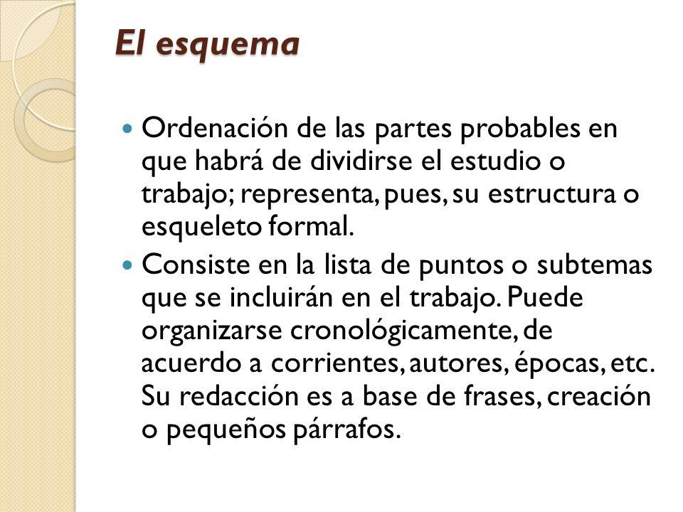 El esquema Ordenación de las partes probables en que habrá de dividirse el estudio o trabajo; representa, pues, su estructura o esqueleto formal.